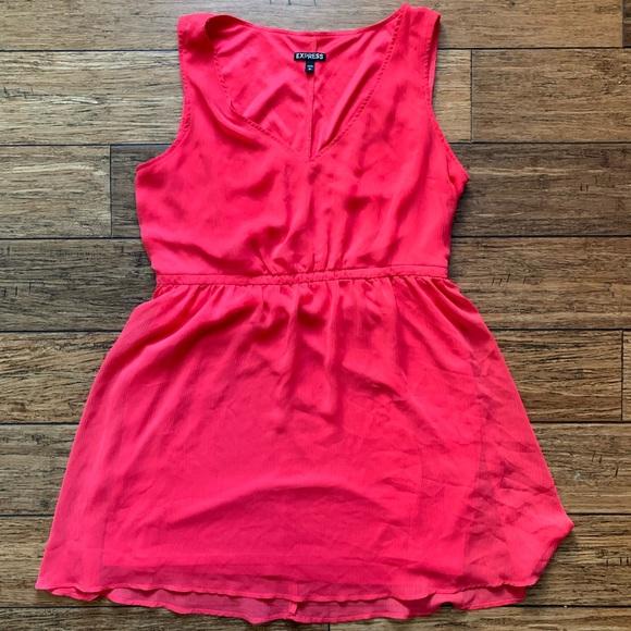 Express Dresses & Skirts - Express - Hot Pink Two Layer Cinched Waist Dress